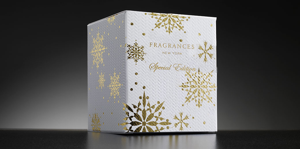 Fragrances New York folding carton packaging by Johnsbyrne