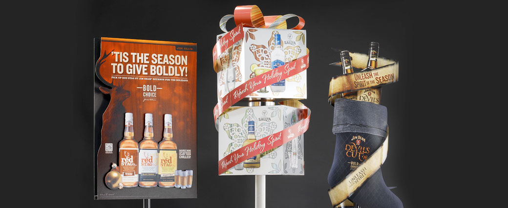 Holiday themed point of sale display advertisements