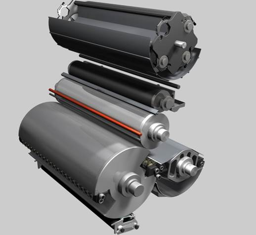 Gatling Gun Coater Configuration: the 'Gatling' configuration can store as many as four different anilox rollers within the coater unit.