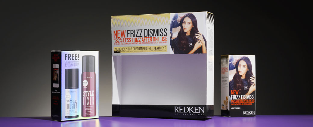 unique display packaging for Redken beauty products
