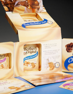Promotional packaging display for Werther's Original caramel candy