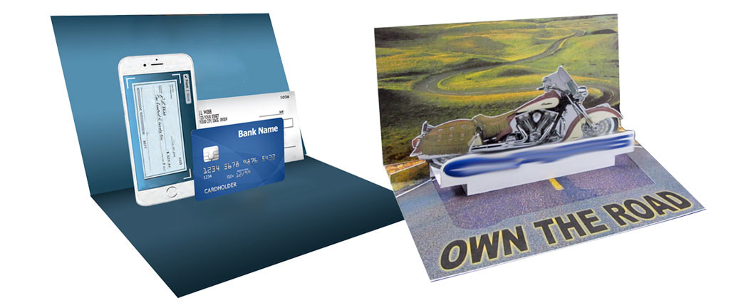 A direct mail can intrigue consumers with slide-outs, pop-ups or 3D elements.
