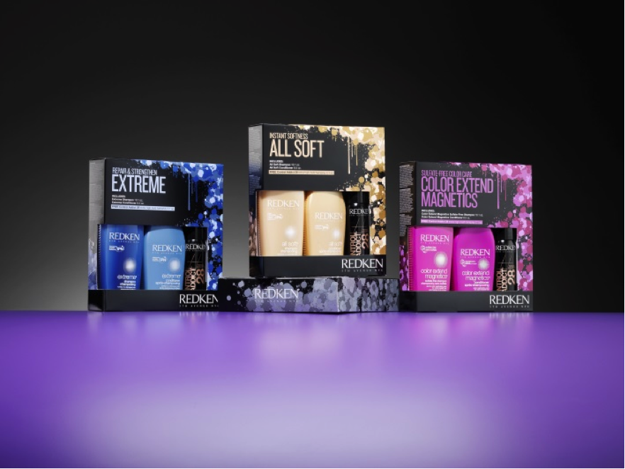 Redken's packaging combines the foil effect and vibrant colors for a winning design