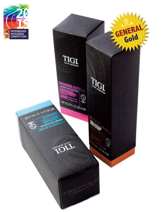 TIGI hair care product packaging folding carton