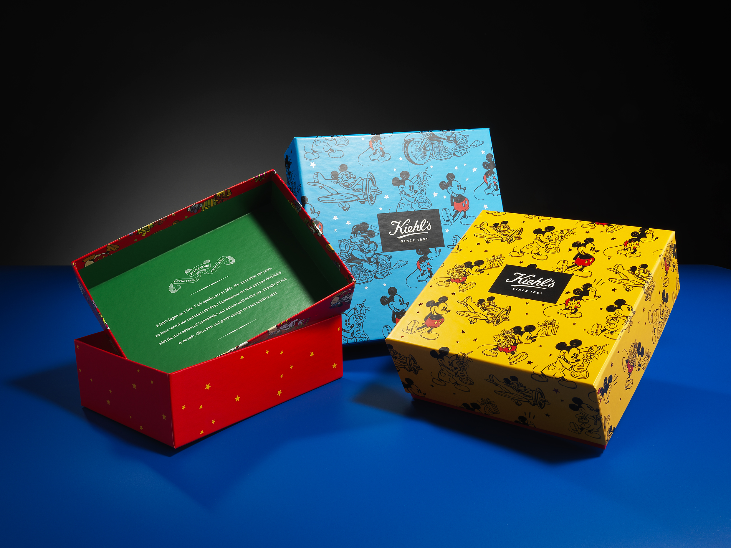 Iconic packaging colors on Keihl's Boxes.