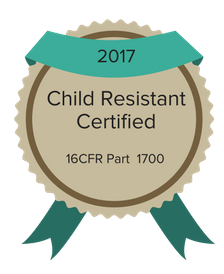 child resistant certified packaging badge